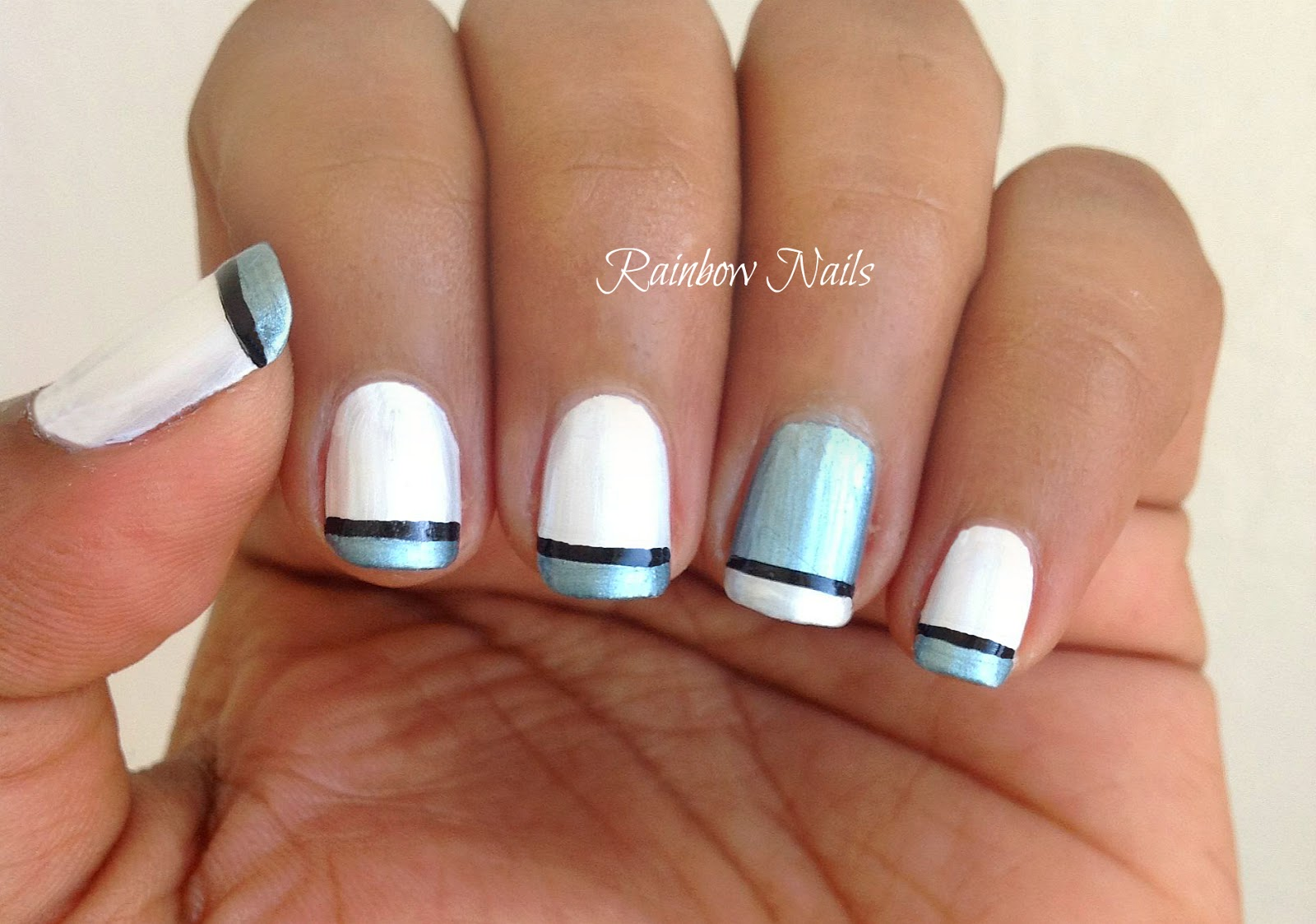 Blue French Tip Nail Designs