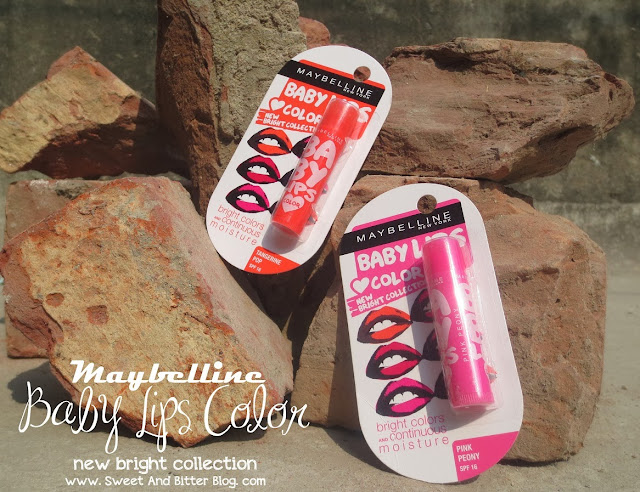 NEW!!! Maybelline Baby Lips Color New Bright Collection Pink Peony and Tangerine Pop [Review] [Swatch]