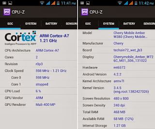 Cherry Mobile Amber CPU-Z Info