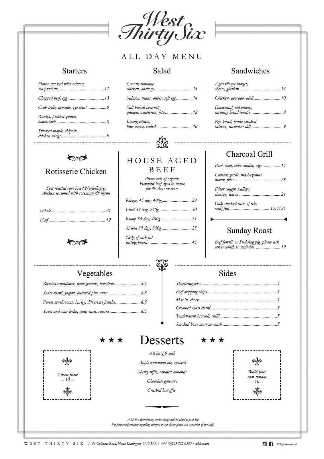 West Thirty Six Menu