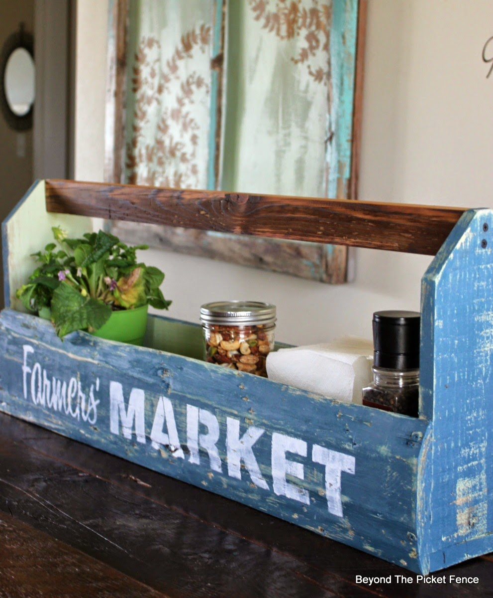 Toolbox, pallet wood, fusion mineral paint, old sign stencils, crate, http://bec4-beyondthepicketfence.blogspot.com/2015/04/farmers-market-toolbox.html