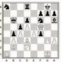 1945, partida de ajedrez Medina - Ubach, posición después de 32.Ab2