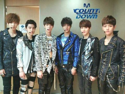Left to right: Chanyeol, D.O., Sehun, Kai, Suho, Baekhyun