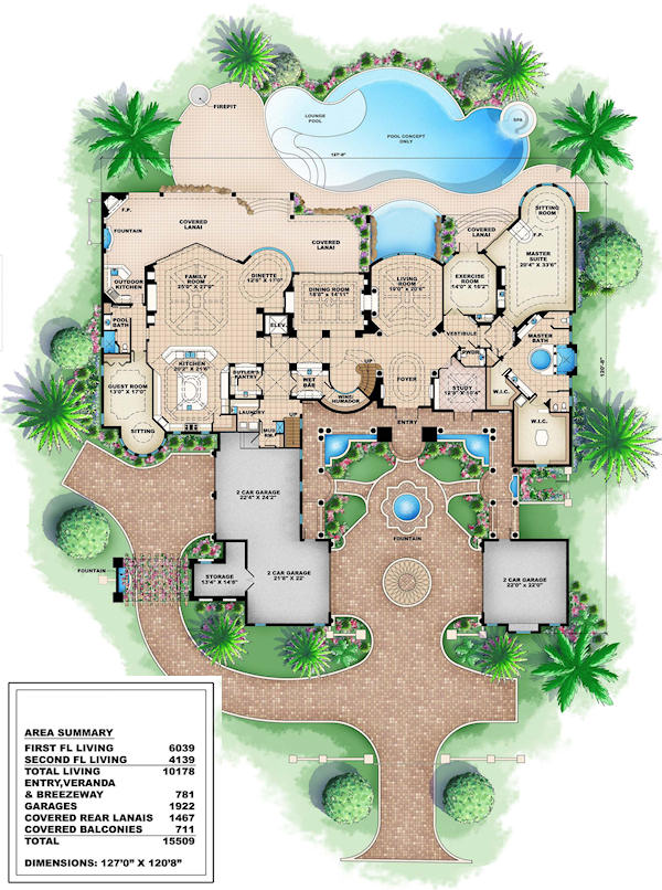 House plans luxury house plans for Luxury mansion plans