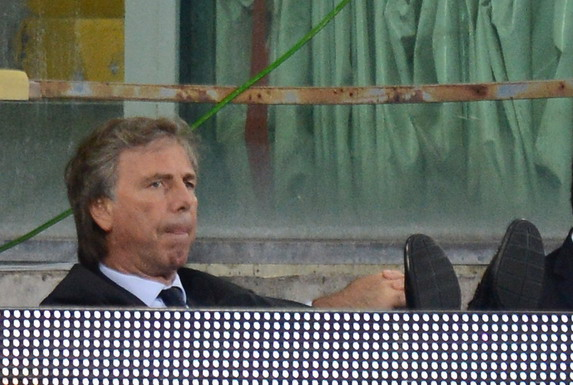 Genoa president Enrico Preziosi is not particularly happy with someone questioning him on the street
