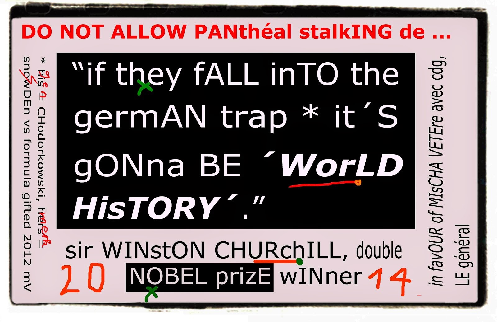 sir winston churchill to nobelprize committee through mischa vetere against snwoDEn genscher lie