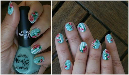 Vintage Dots and Roses Nail Art