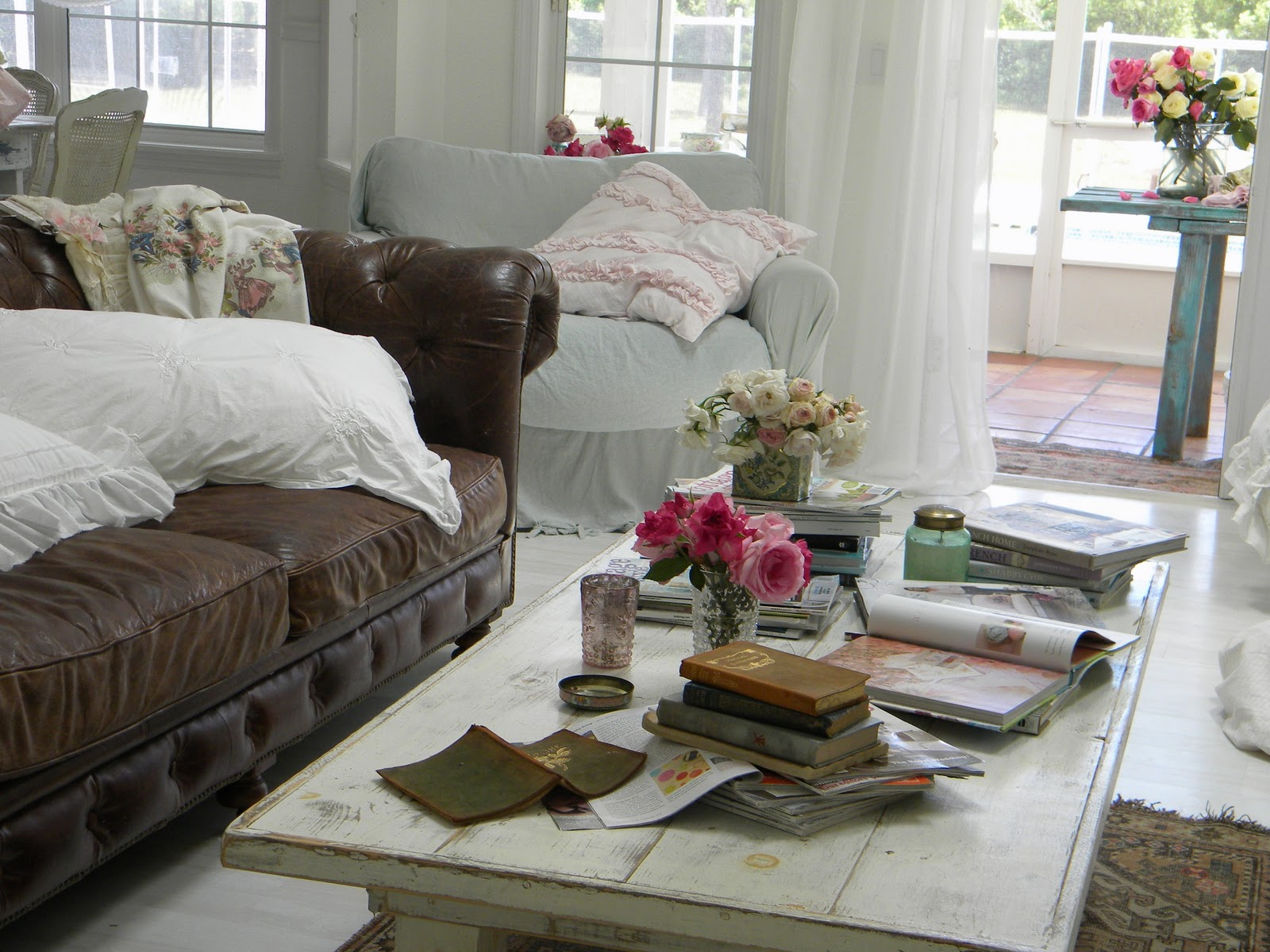 Shabby Chic Living Room with Brown Leather Couch