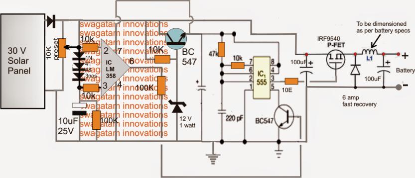 homemade solar mppt circuit  poor man's maximum power point, circuit diagram