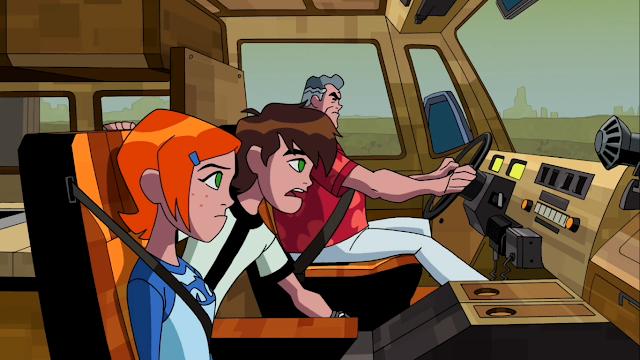 Ben, Gwen e Max perseguindo assaltantes
