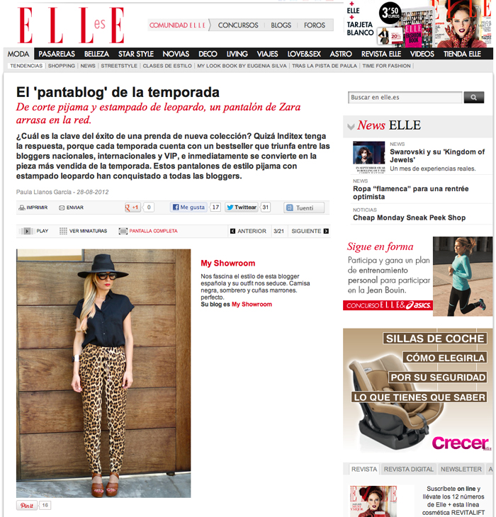 My Showroom, Press, features, leopard print, elle, look, outfit leopard pants