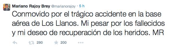 Twitter de Mariano Rajoy tras el accidente