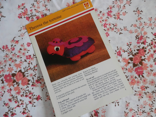 Retro Seventies Crafts,  Animals, Dolls and Creatures.  Felt Theresa the tortoise.  secondhandsusie.blogspot.co.uk