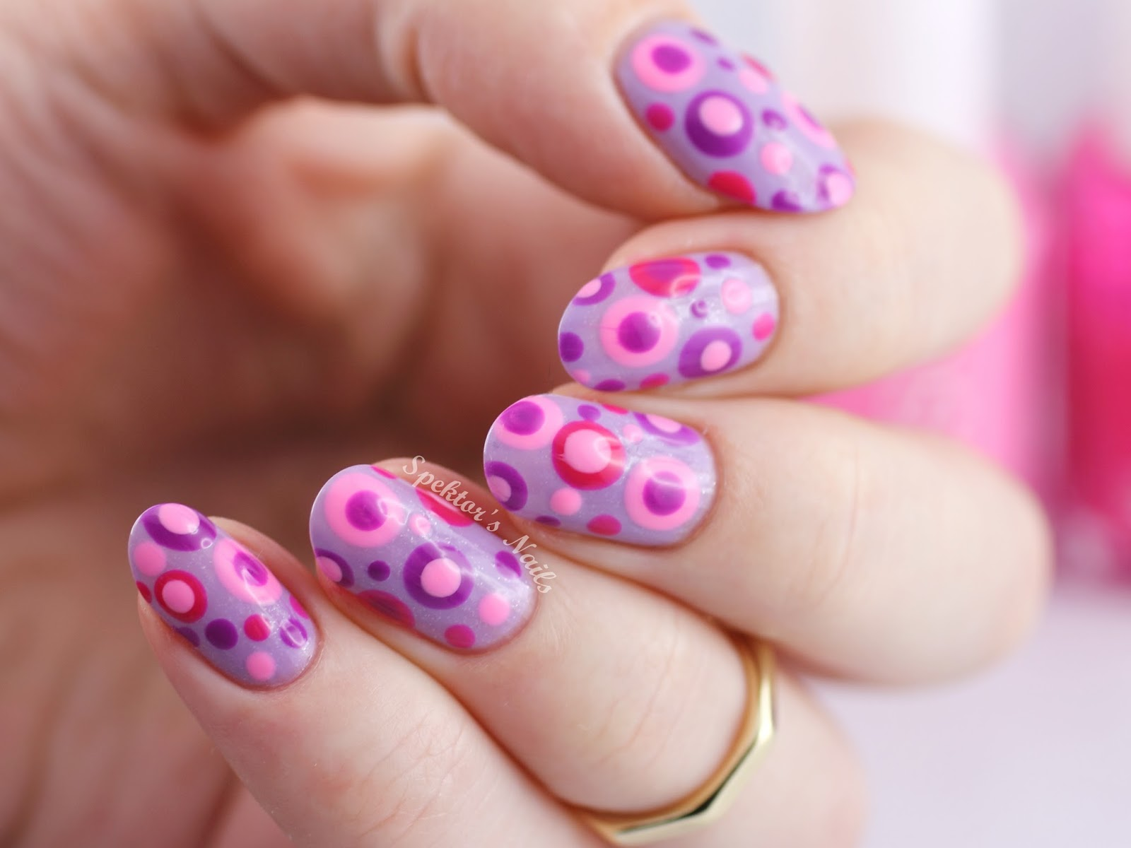 Pink & Purple Dotted Nails feat. Essie