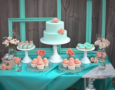 turquoise wedding dessert table