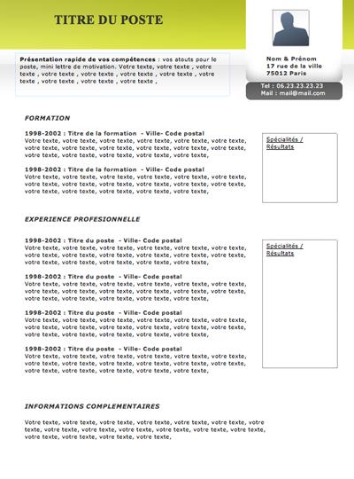 resume format  mod u00e8les de cv originaux