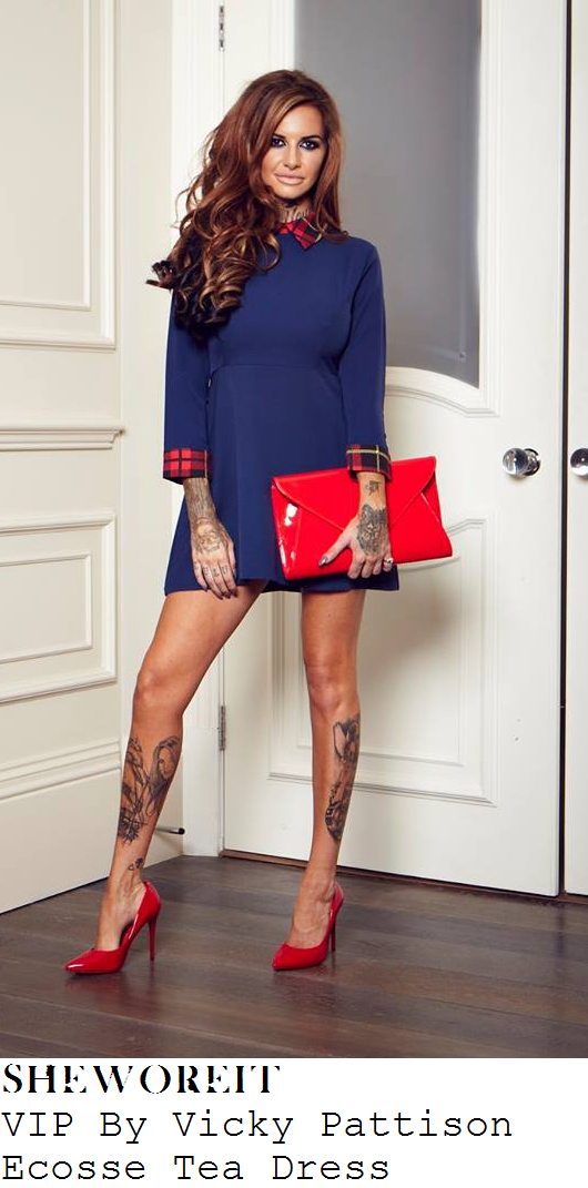 vicky-pattison-blue-tartan-collar-cuff-mini-dress-loose-women