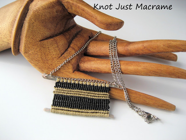 Micro macrame pendant necklace by Knot Just Macrame.