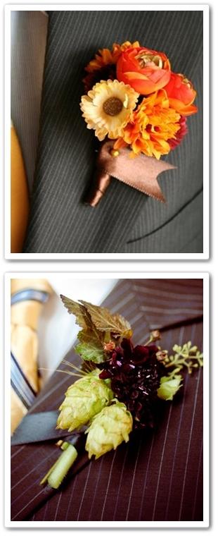 corsage organge höst, boutonniere orange autumn