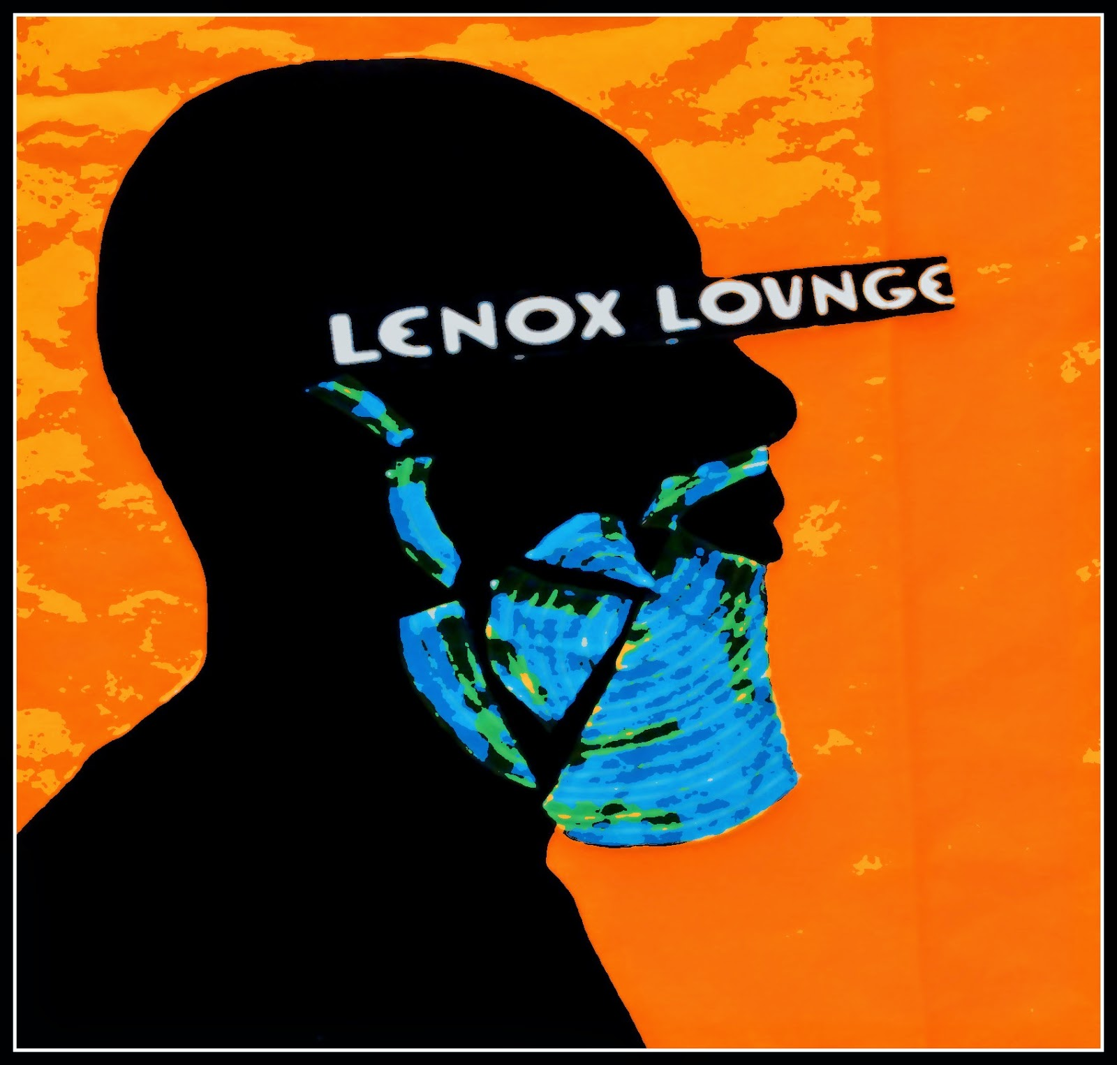 Black man with a beard afro jazz style with Lenox Lounge from the Harlem Renaissance across the eyes