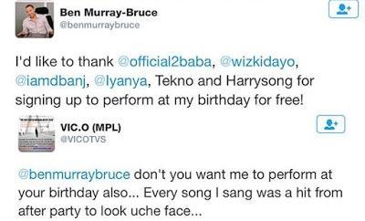 Breaking: Vic O Will Perform At Ben Murray-Bruce's Birthday Alongside 2face, Dbanj, Wizkid
