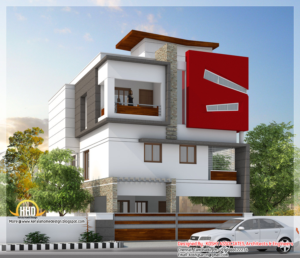 Beautiful modern 3 storey house tamilnadu villa indian for Tamilnadu house designs photos