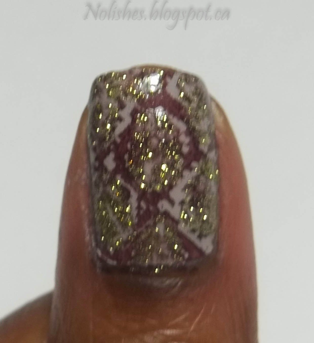 Nail Stamping Manicure using China Glaze What are you A-freight of?, Essie 'Take it Outside', and Sally Hansen 'Sage Smash'