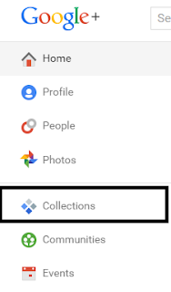 Google+ webpage and side menu featuring the buttons Home, Profile, People, Photos, Collections, Communities, and Events.