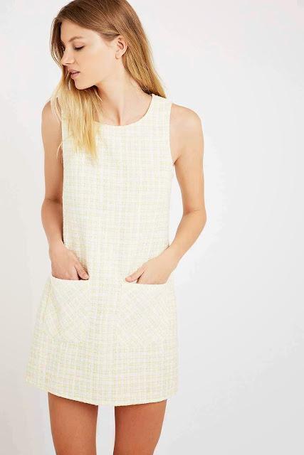 cooperative tweed dress, lemon tweed dress,