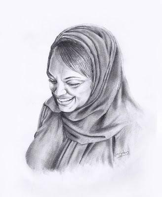 arab woman portrait,arab woman pencil sketch