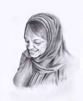 arab woman portrait,arab woman pencil sketch