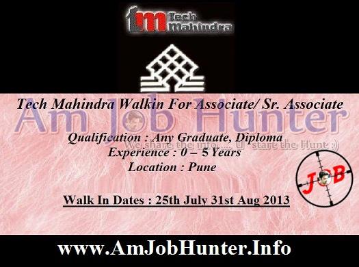 Tech Mahindra Walkin for Freshers -  Associate/ Sr. Associate