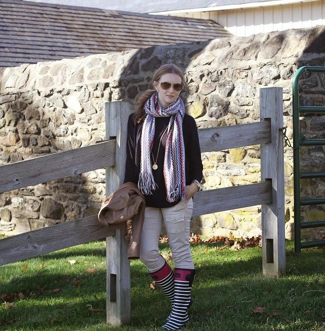 jcrew swing sweater, joie so skinny jeans, joules rain boots, missoni scarf, beige  leather jacket