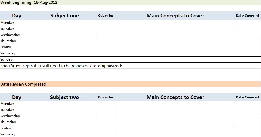 Sample Academic Daily Planner Template