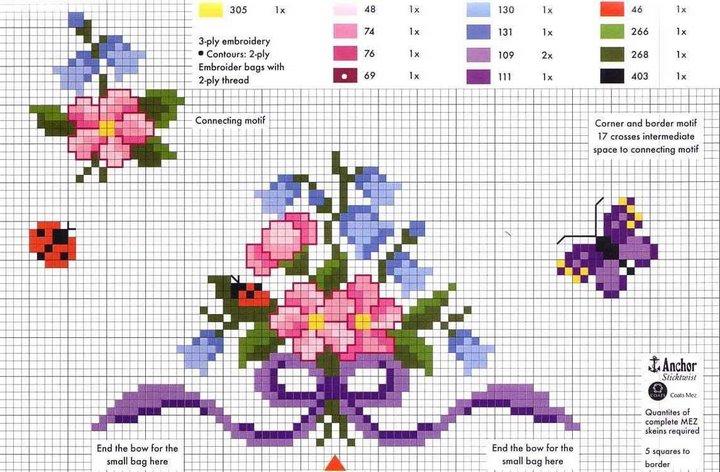 Patrones y esquemas gratis: Más flores a unto de cruz