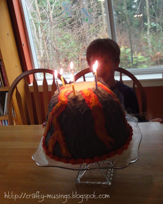 Big Bear is super excited about his erupting volcano cake
