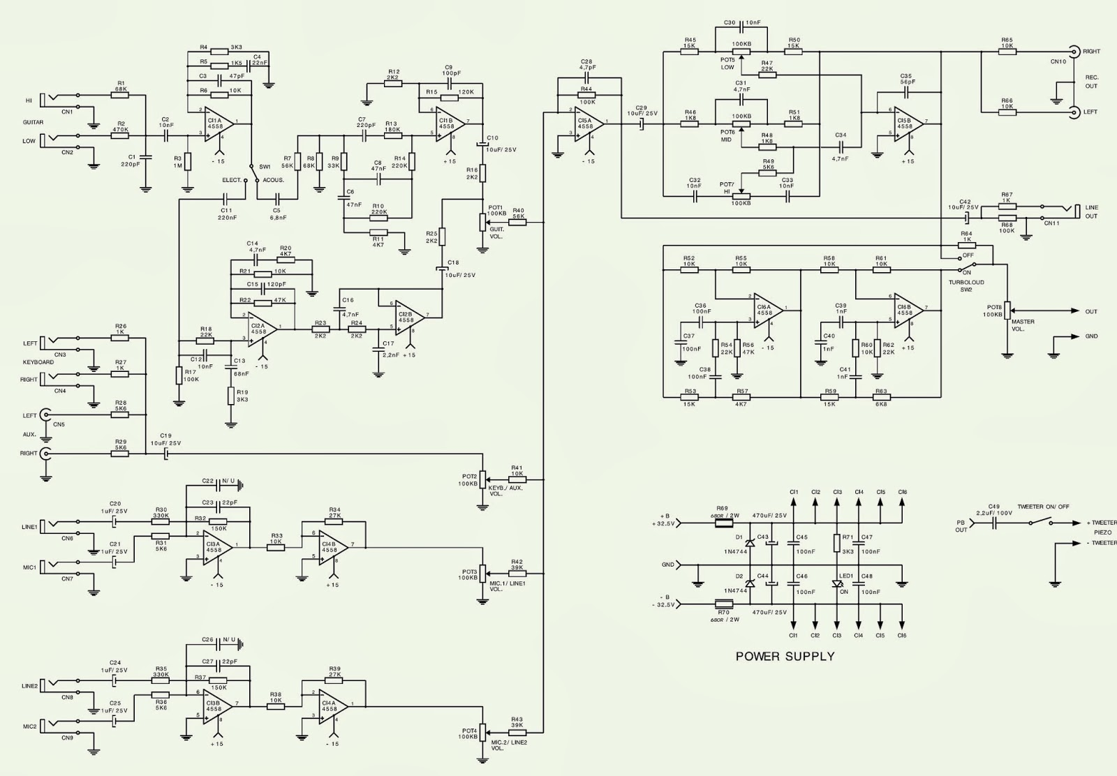 Watch further Watch in addition lifier Tone Stacks in addition L298n Stepper Motor Driver Controller Board For Arduino likewise Subwoofer For Cars Circuit Diagram. on power amp circuit diagram