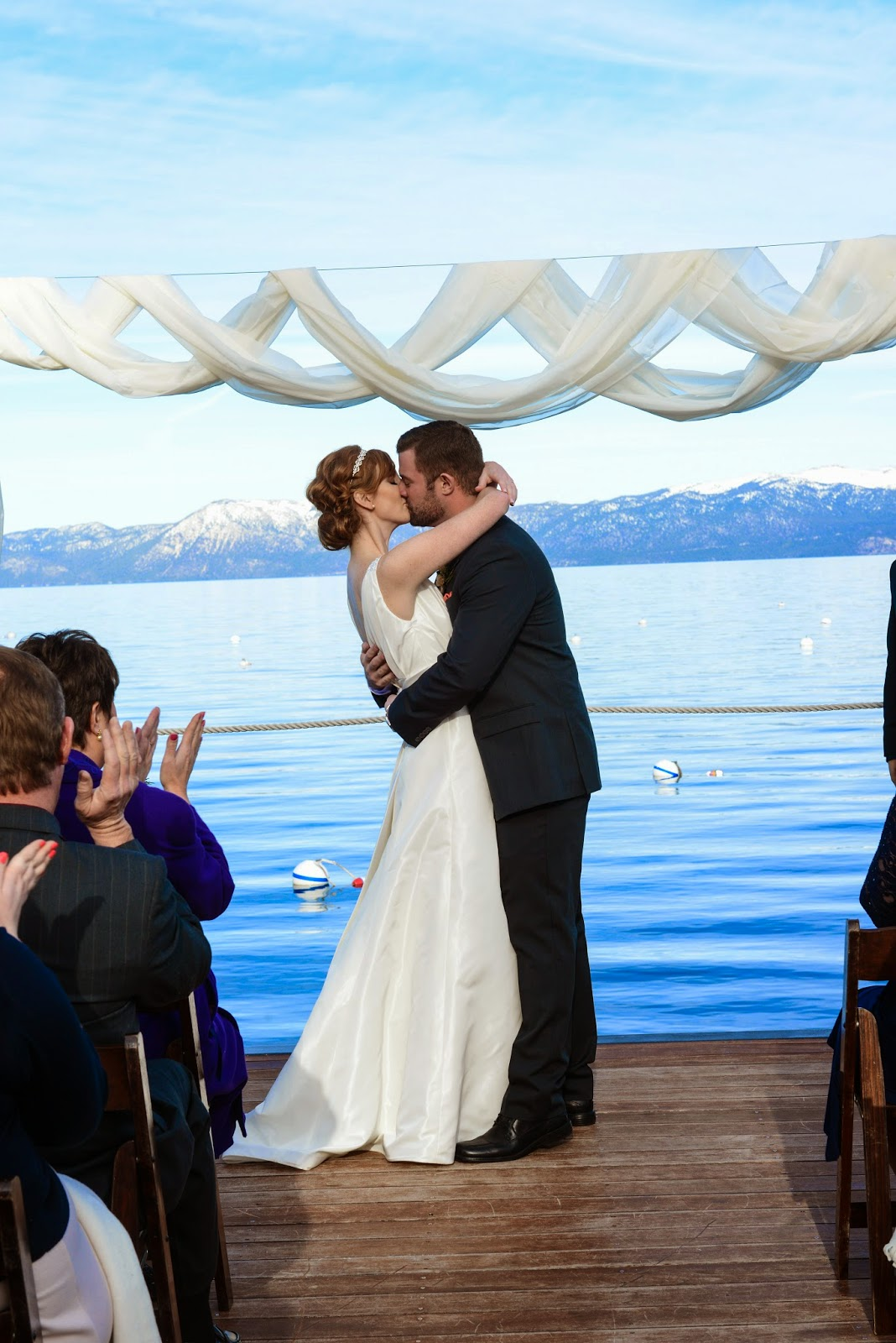 Lake Tahoe Pier Wedding Ceremony / Photo by Jade Studios / Take the Cake Event Planning
