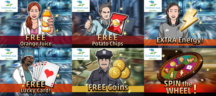 criminal case game free gifts+rewards+burger+Coins+chips+juice+Free meal+lucky cards+spin the wheel+extra energy