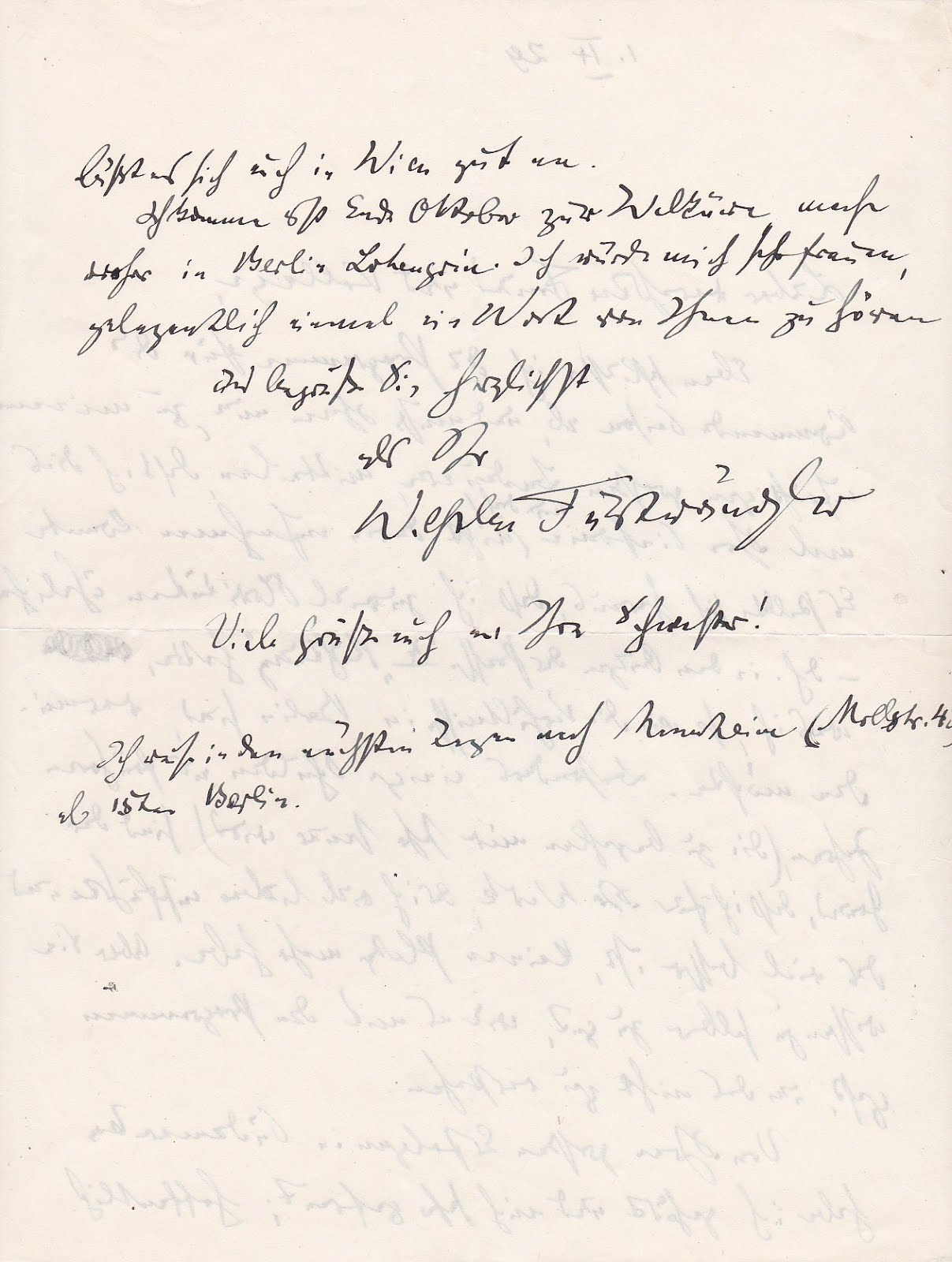 Conductor Wilhelm Furtwaengler pens a 2 page letter to his colleague Robert Heger