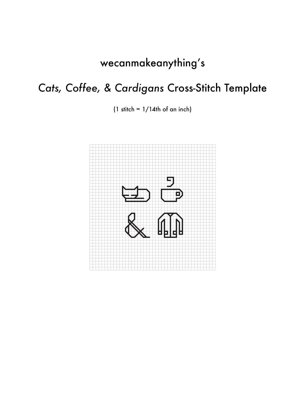 We Can Make Anything: cats, coffee, & cardigans cross stitch