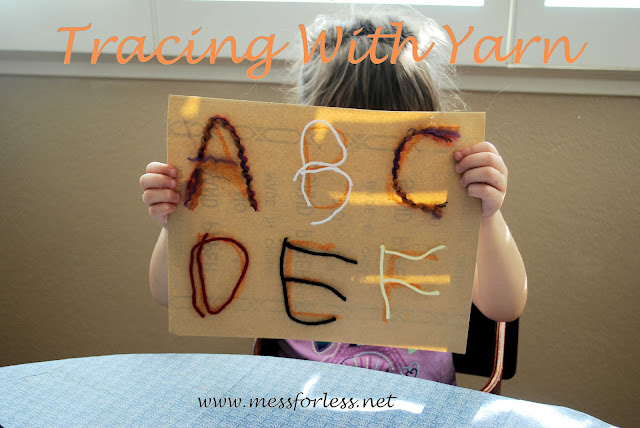 Handwriting Practice by Tracing With Yarn, #kids, #fine-motor