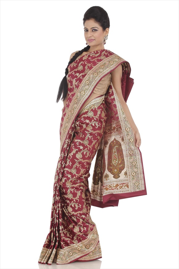 Crimson Satin Banarasi Saree