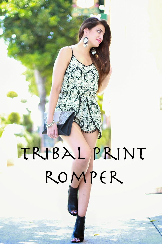 fashion nova tribal print romper forever 21 chandelier earrings steve madden booties LA fashion blogger alishafashionista stylist