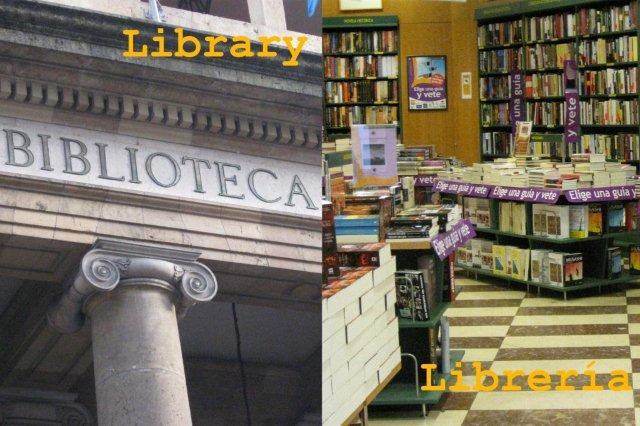 Falsos amigos en ingles - Library Libreria Biblioteca