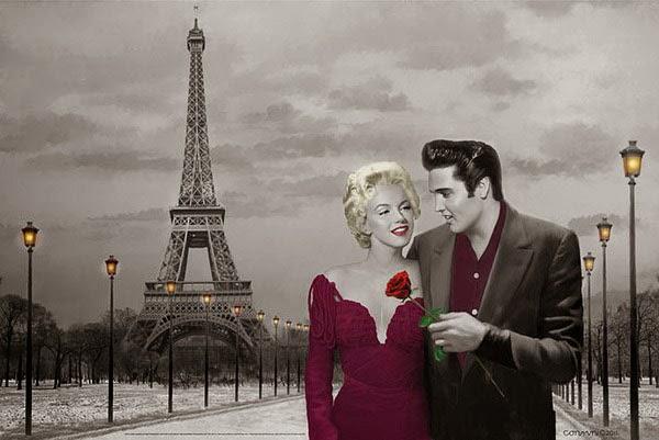 Poster Elvis Presley y Marilyn Monroe en París