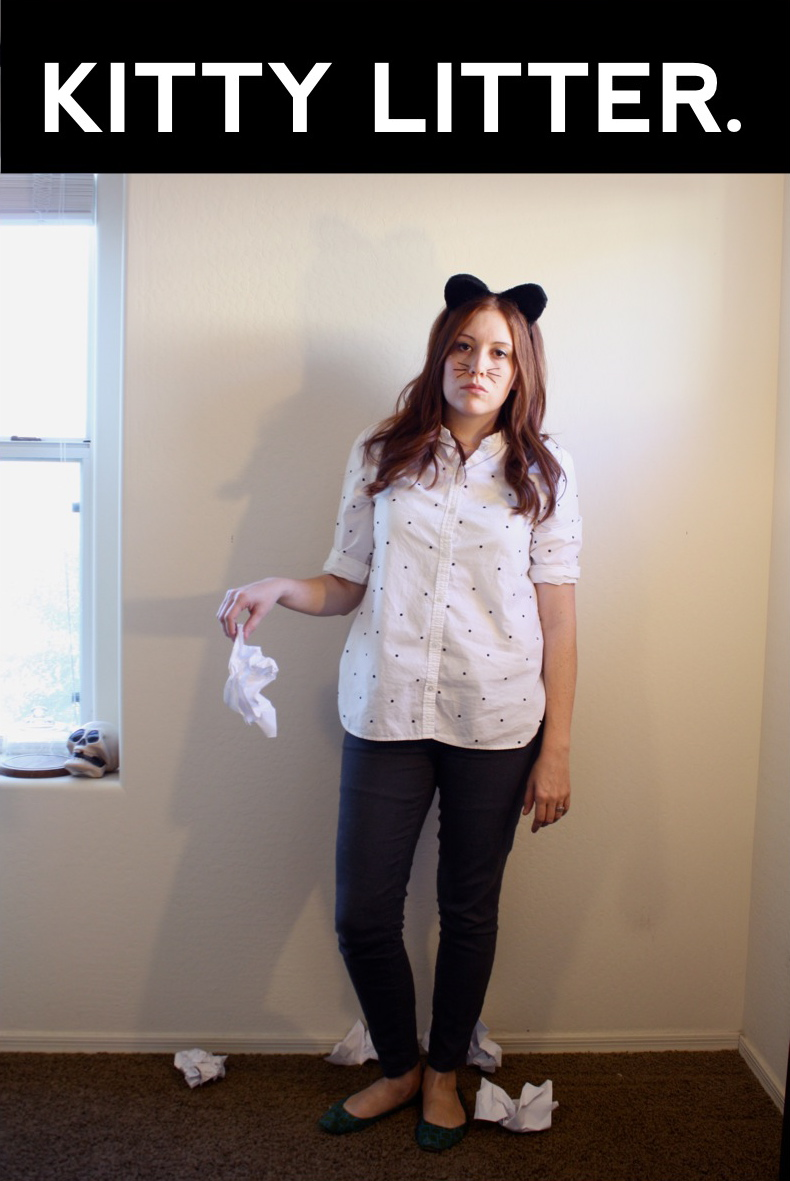 cat ears trash - Halloween Puns Costume