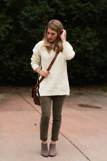 cable knit tunic sweater, camo pants, booties, cognac satchel