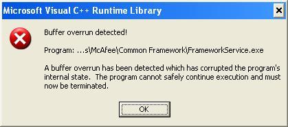 Windows Vista Buffer Overrun Detected On Windows