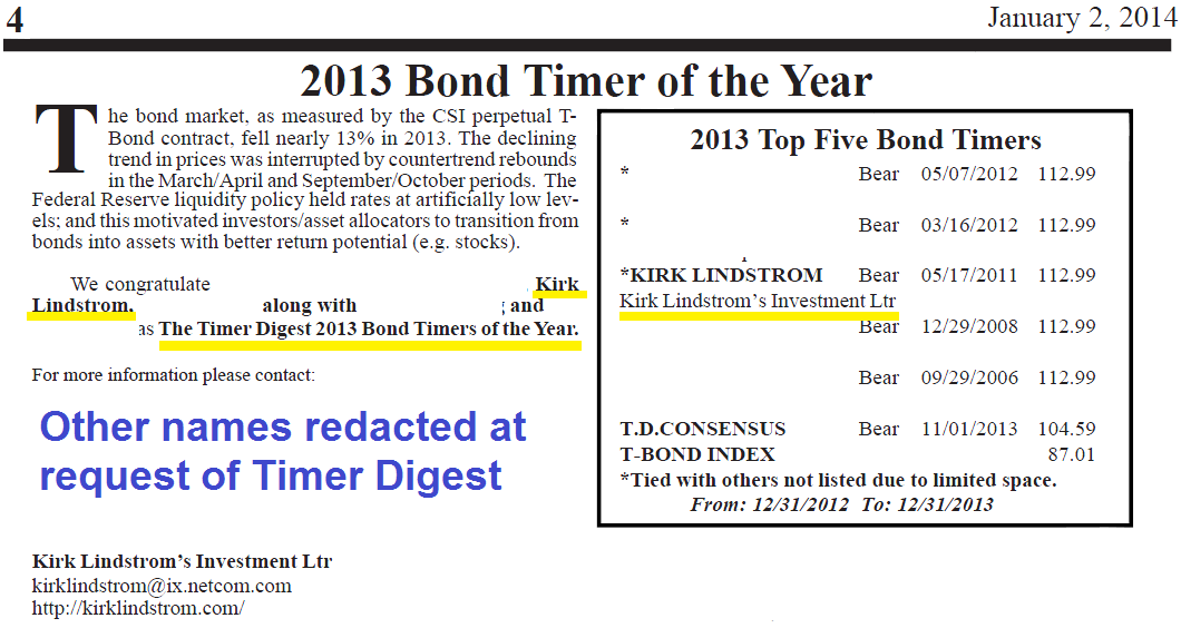 Timer Digest Bond Timer of the Year